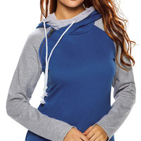 Women Blue Grey Patchwork Double Hooded Sweatshirt