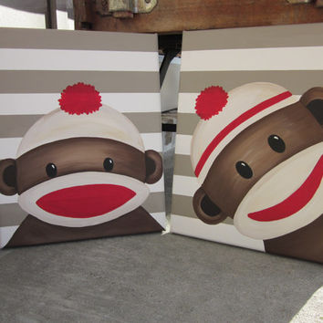 Sock Monkey Art - Handpainted Paintings Set Wall Decor Art - You customize!