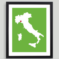 My Heart Resides In Italy Art Print - Any City, Town, Country or State Map Customized Silhouette Gift
