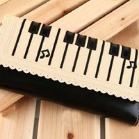 Cute Piano Keyboard Print Pattern 3 Folds Clutch Handbag Pu Leather Cartoon Purse Wallet Bag (Black)