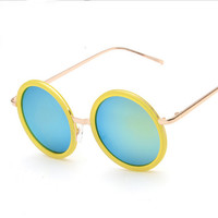 Delicate round metal frame sunglasses