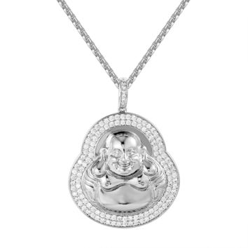 "Religious Buddha Iced Out Custom 14k White Gold Finish Pendant 24"" Steel Box Chain"