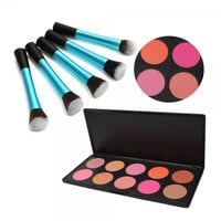 10 Color Makeup Cosmetic Blush Palette + 5pcs Pretty Waist Style Cosmetic Makeup Brush Set