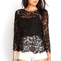 FOREVER 21 Crochet Lace Blouse Black Large