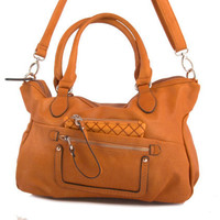 vegan leather handbag purse orange/brown -.- the kayl -.-  35% summer sale