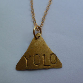 Custom triangle necklace stamped with yolo or by littlepancakes