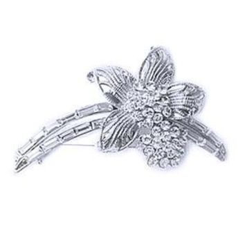 Platinum-Plated Swarovski Crystal Flower Vintage Brooch/pin