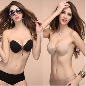 sexy Women solid color Silicone Bra Invisible Push Up Stick On Self Adhesive Bras female Strapless bralette Lingerie A B C D Cup