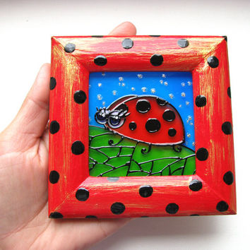 SALE Original Glass Painting  Ladybug  OOAK Miniature Baby Child Nursery decor kids room decor kids wall art  nursery wall art ready to ship