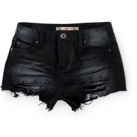 Highway Jeans Distressed Black High Waisted Shorts