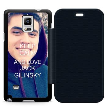 Keep Calm and Love Jack Gilinsky Leather Wallet Flip Case Samsung Galaxy Note 4