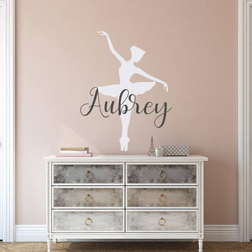 Ballerina Name Wall Decal - Personalized Wall Decal Girl, Personalized Name Vinyl Decal, Personalized Girls Name, Ballerina Custom Decal K12