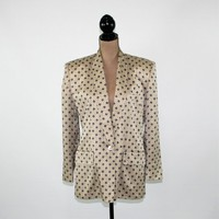 80s Print Blazer Silk Jacket Women Beige Blue Size 10 Jacket 1980s Anne Klein II Vintage Clothing Womens Clothing