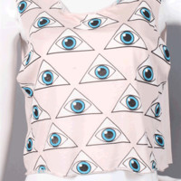 All About The Eyes Crop Muscle Tank Top In Light Pink/Multi | Thirteen Vintage