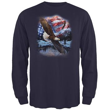 4th Of July American Flag Bald Eagle Mens Long Sleeve T Shirt