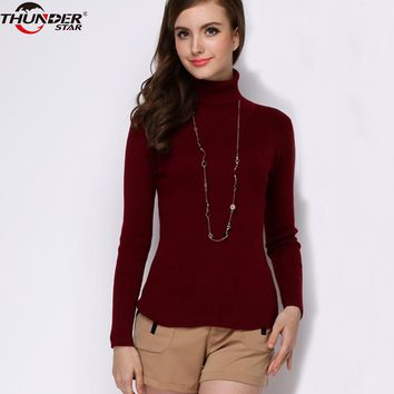 Knit Turtleneck Sweater Women High Elastic Solid Slim Cashmere Sweaters Fashion 2018 Winter Woman Sweater Knitting Pullovers