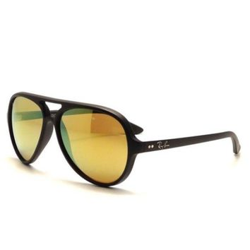 Kalete Ray Ban RB4125 601S/93 Cats 5000 Sunglasses Matte Black Frame Yellow Flash 59mm