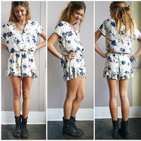 An Ivory and Blue Romper