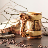 Wolf Wooden Personalized Beer Mug Tankard Stein Cup Barrel Hand Carved Cedar Wood Gifts Viking Mug (0.7/23.6 oz)