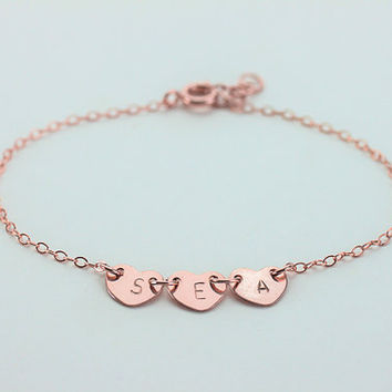 Heart Initial Bracelet. All rose gold filled three initials Bracelet. personalized  friendship. Custom Letters.His and Her Initials.