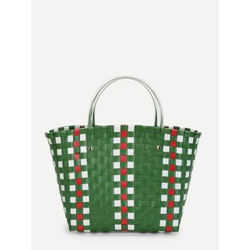 Green and White Woven Design Bag With Double Handle - Purse - Large Bag - Beach Bag