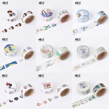1Pcs Hand Draw Illustration 12 Design Washi Tape Decorative Scotch Tape For Scrapbook Stickers Diy Masking Tape 7Meters M0260