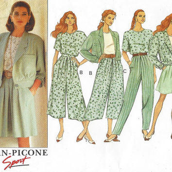 90s Evan Picone Butterick Sewing Pattern 5375 Womens Bomber Style Jacket, Top, Split Skirt & Pants Size 12 14 16 Bust 34 36 38 UnCut