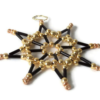 decorative black and gold star ornament, seed bead star for Christmas, tree ornament or gift tag, decoration item
