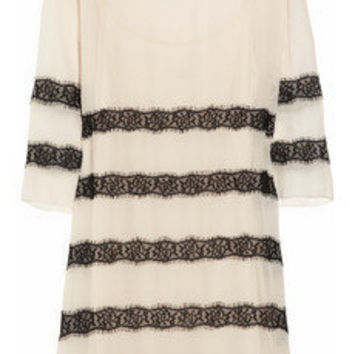 By Malene Birger | Chantelle silk-crepe and lace dress | NET-A-PORTER.COM