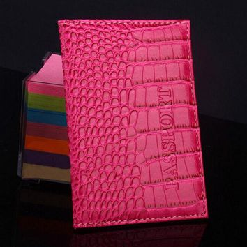 DCCKHY9 Delicate Business Card Holder Passport Cover PU Leather Alligator Embossing Passport Holder Protector Wallet