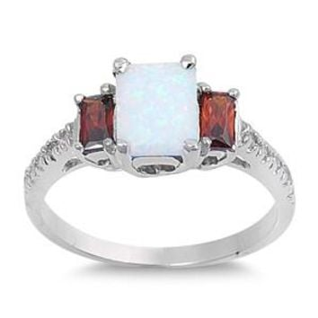 Sterling Silver Tri Rectangular CZ Garnet CZ 9MM White Lab Opal Ring