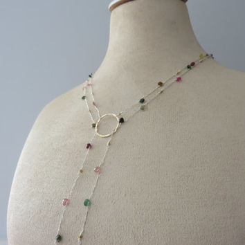 VERY LONG Multi-Colored Tourmaline Gold Filled and Sterling Silver LONG Lariat Necklace ~ Pinks, Blues, Greens, Yellow, ~ Colors of A Garden
