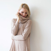 Roll-neck short knit dress, Beige knit tunic with long sleeves