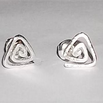 "Tiny Spiral Triangle .25"" Silver Tone Post Back Stud Earrings"
