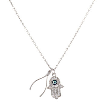925 Sterling Silver Evil Eye Hamsa and Wishbone 18 Inch Adjustable Necklace