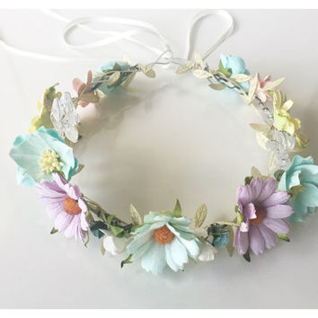 Baby Flower Crown Headband Newborn Flowergirl Bridesmaid Bride Hair Baby Flower Crown Halo Bridal headwear Bride Headband Wedding Ideas Boho
