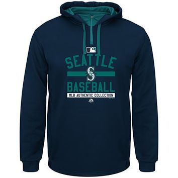 Mens Authentic Collection Team Property Therma Base® Performance Hooded Fleece - Seattle Mariners | Majestic Athletic Official Store