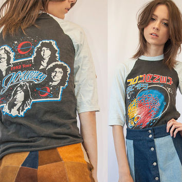 RARE 80s Vintage Journey Raglan Tee Small XS | Paper Thin Faded Band Tee Rock n Roll 1982 Tour Concert Tshirt 1980s Faded Baseball Tee