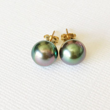 Tahitian pearl stud earrings - Tahitian pearl earrings - Tahitian pearl stud - June birthstone earrings (E220)