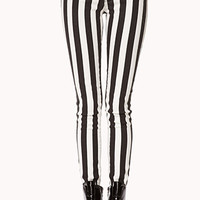 Edgy Striped Skinny Jeans