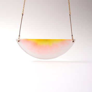 ombre necklace chromatography . gradient pink and yellow . 14k gold filled chain . acrylic cover . sunrise morning skies