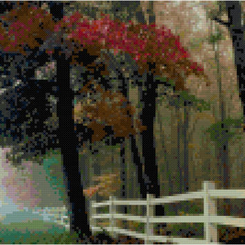 Fall Morning Instant Download Counted Cross Stitch Pattern Chart PDF