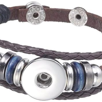 Brown With Blue Beads DIY Leather Bracelet Multiple Colors for 18MM - 20MM Snap Jewelry Build Your Own Unique