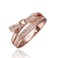 18K Rose Gold Plated Clear Crystal Pave Bow Knot Shaped Cocktail Ring