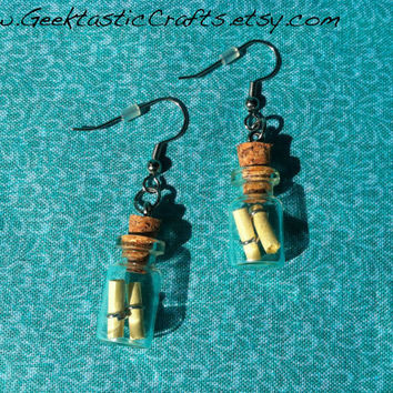 Message in a Bottle Earrings Cute Fairy Tale / Fantasy Jewelry