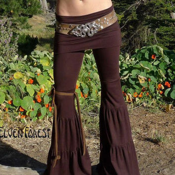 Zumi Yoga Pants  with adjustable skirt  In black by ElvenForest