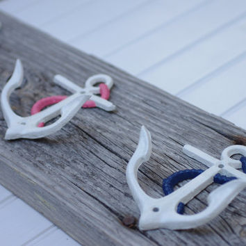 Five Anchor Wall Hooks Mounted on Recycled Weathered Dock Board