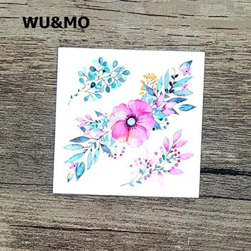 WU&MO 6X6cm Little Colored Plant Rose Flower Designer Temporary Tattoo Sticker Body Art Water Transfer Fake Taty for Face