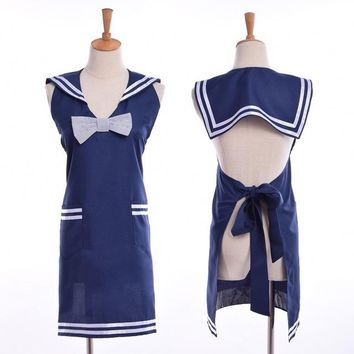 Women Navy Sailor Cosplay Apron Cute Girls Lolita Maid Apron Dress with Pocket