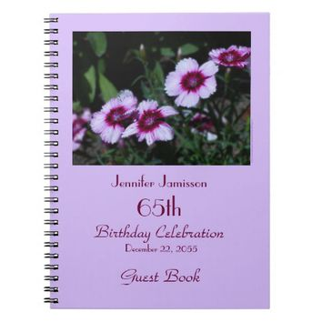 65th Birthday Party Guest Book, Purple Flowers Notebook